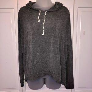 Gray Long Sleeve Shirt Hoodie Lounge Casual